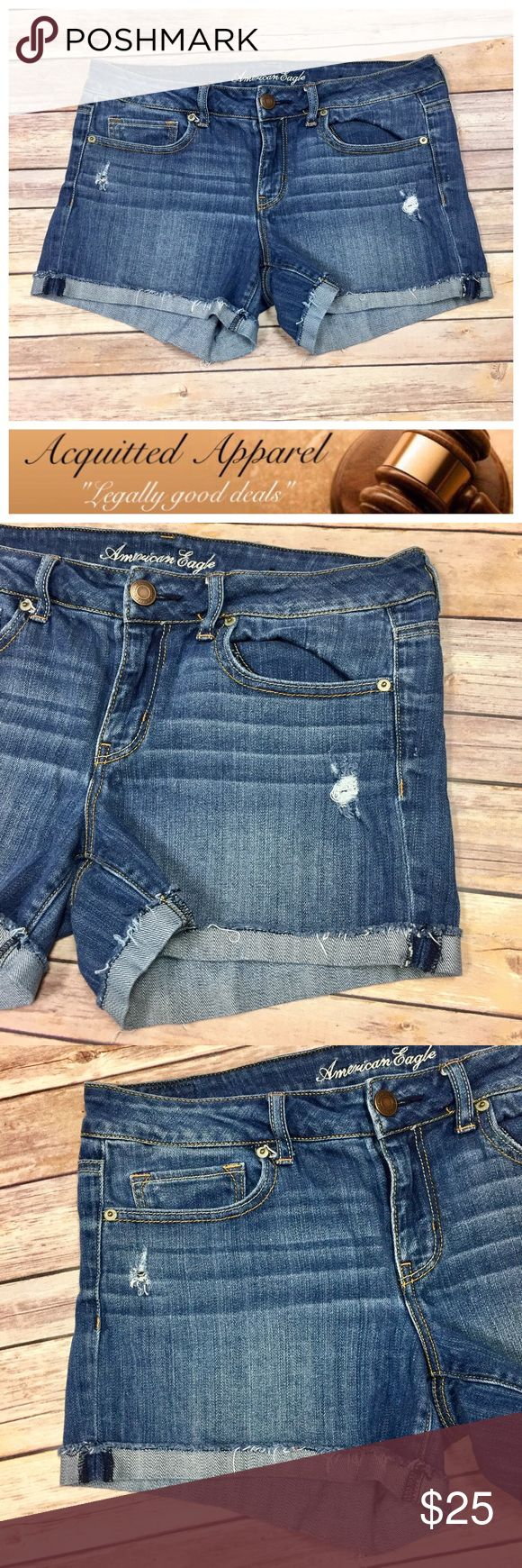 [AE] American Eagle Cuffed Denim Jean Shorts Beautiful like new condition. Light distressing. Size 12. American Eagle Outfitters Shorts Jean Shorts