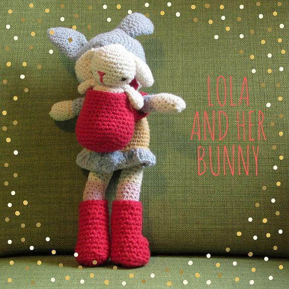 Lola the amigurumi cotton bunny girl doll with by cottonandjute