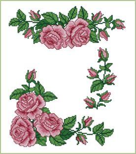 Rosas Definir projetos de ponto de cruz