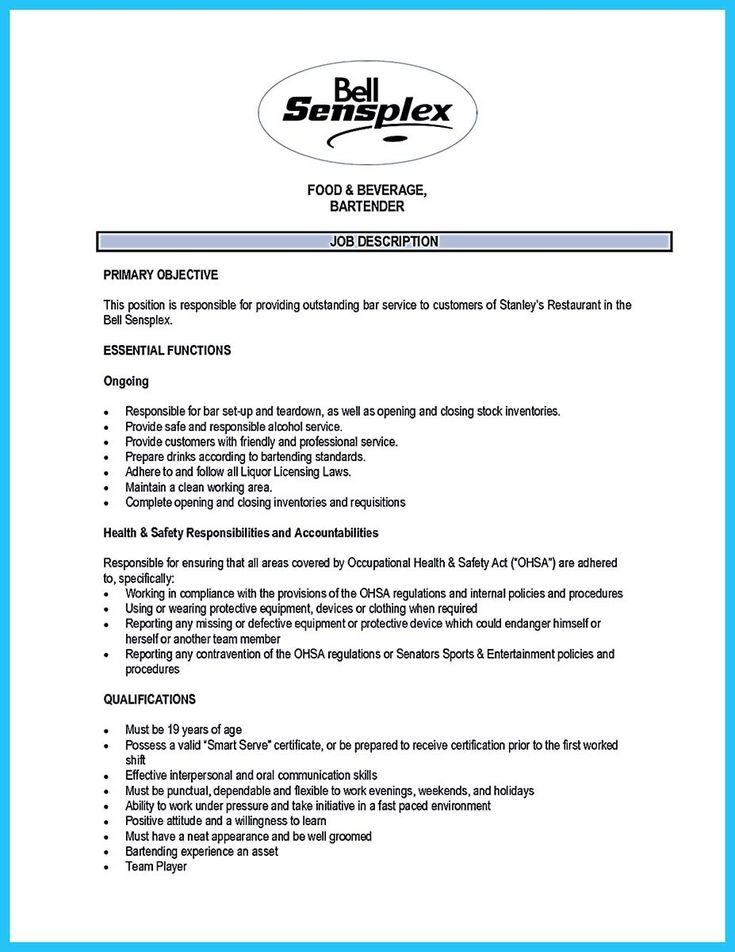 awesome Impress the Recruiters with These Bartender Resume Skills, Check more at http://snefci.org/impress-the-recruiters-with-these-bartender-resume-skills