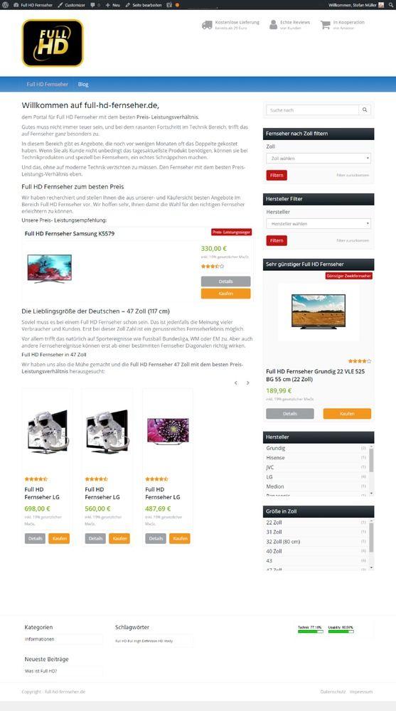 Webprojekt, Online Shop full-hd-fernseher.de