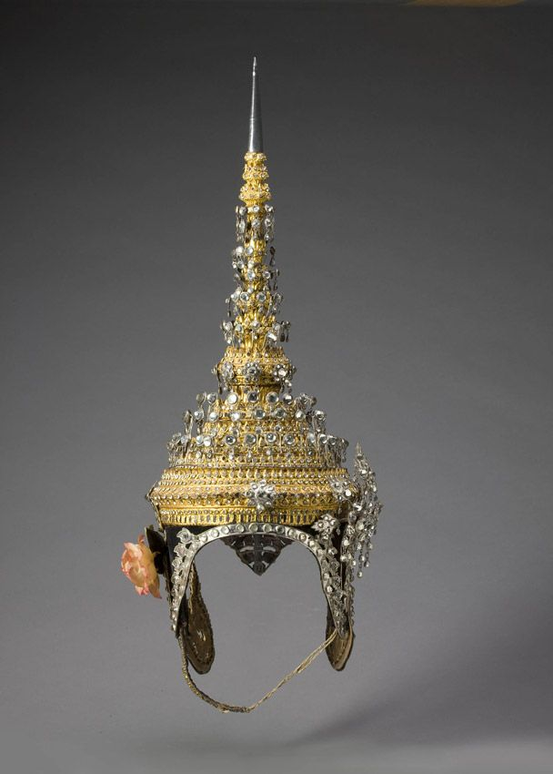 EMERALD CITIES: ARTS OF SIAM & BURMA,  Headdress for the hero Rama in the dance-drama of the epic of Rama approx. 1950–1960 Thailand Gilded lacquer, wood, silver, glass, synthetic textile, rawhide, and paper Gift from Doris Duke Charitable Foundation's Southeast Asian Art Collection,