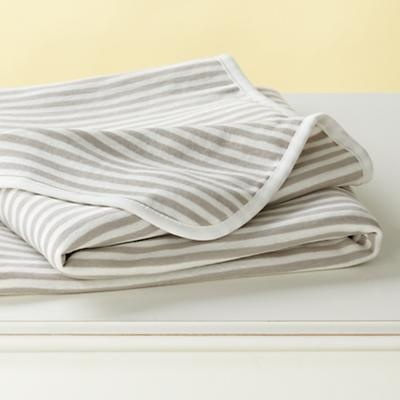 Baby Blanket: Egyptian Cotton, Kids Beds, Stripes Blankets, Baby Beds, Baby Blankets, Cotton Baby, Khakis Stripes, Land Of Nod, Baby Stuff