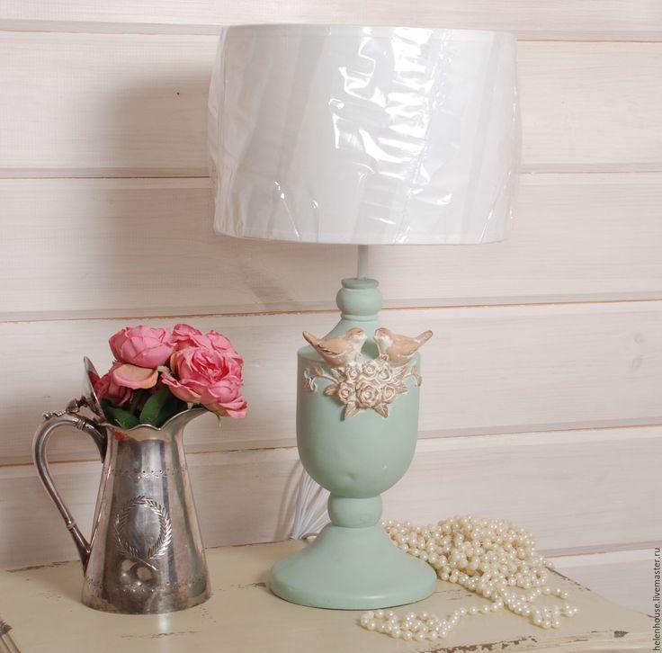 """Купить Лампа бирюзовая """"Птички"""" - бирюзовый, лампа, прованс, дом, Декор, стиль, шебби"""