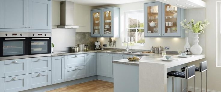 Howdens Tewkesbury Blue shaker style kitchen - gorgeous!