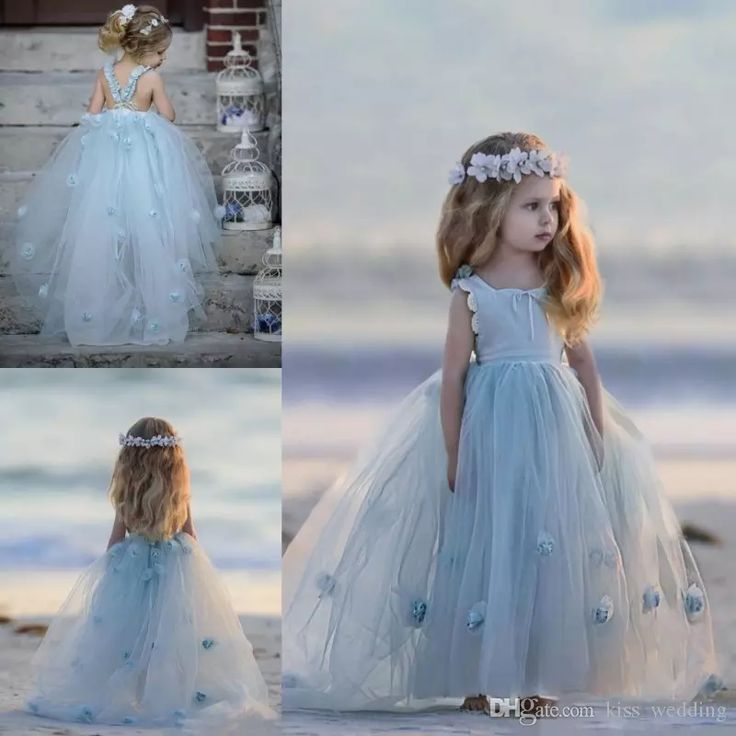 Adorable Light Sky Blue Little Girls Princess Dress For Party Weddings Kids Spring Wear Baby Toddler Tulle Gown With Handmade Flowers Dresses Red And Black Flower Girl Dresses From Kiss_wedding, $101.77| Dhgate.Com