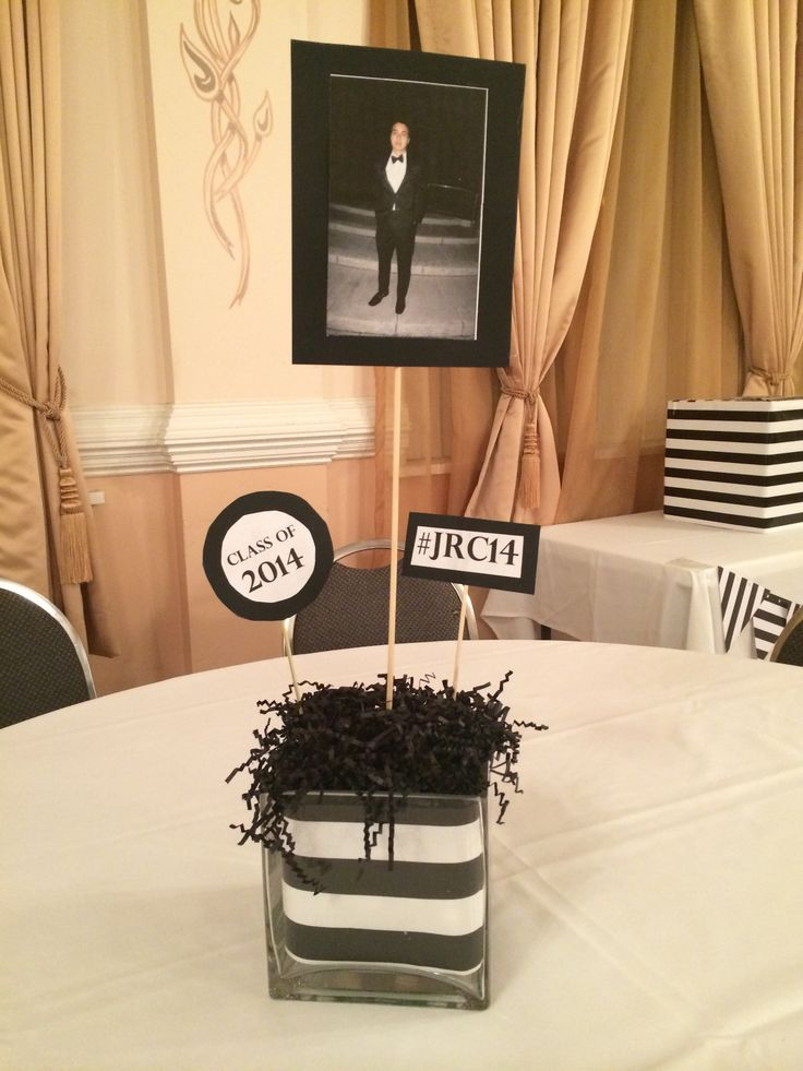 diy centerpieces for black and white party for graduation