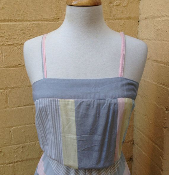 70's Pastel striped circle skirt dress size by PearlsVintageCloset