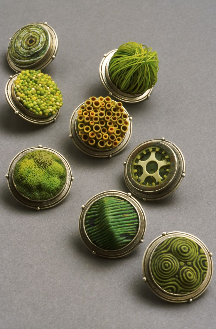 Cynthia Toops polymer clay & silver broochesPolymerclay, Inspiration, Green, Art, Jewelry, Cynthia Toops, Polymer Clay, Silver Brooches, Toops Polymer