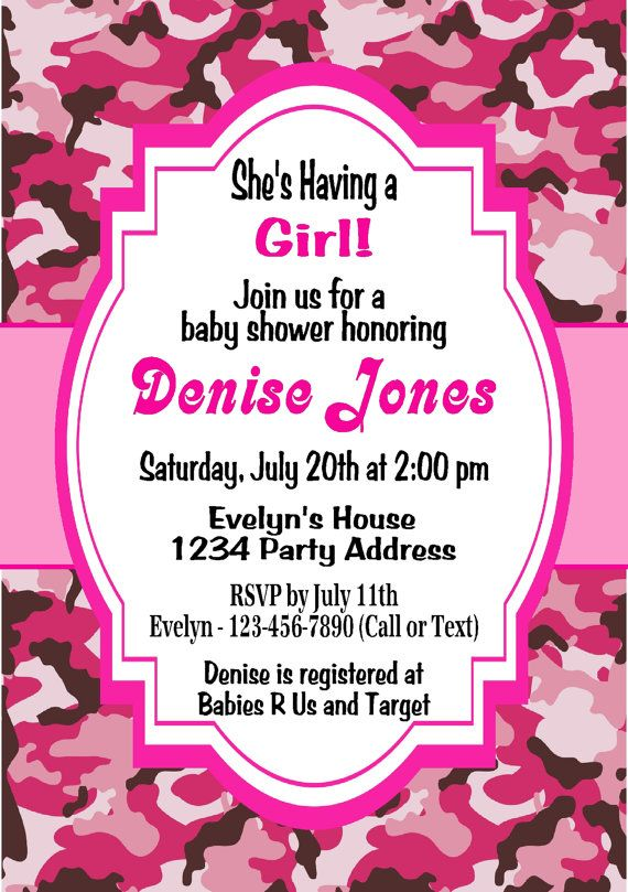 invitations rustic camo girl baby camouflage baby showers camo baby
