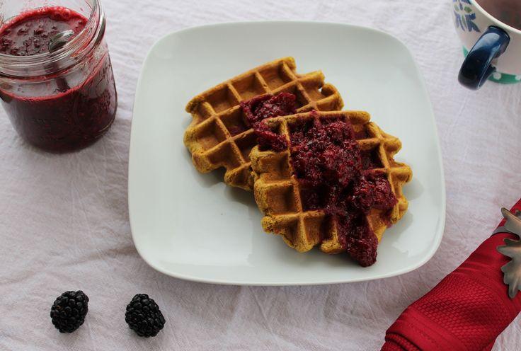 Pumpkin Cinnamon Waffles With Blackberry Sauce
