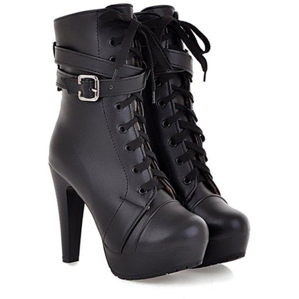 Aisun Women's Lace Up High Heeled Mid Calf Ankle Boots ($38) ❤ liked on Polyvore featuring shoes, boots, mid-calf lace up boots, lace up boots, bootie boots, short lace up boots and high heel shoes