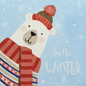 Social Artworking Canvas Painting Design - Hello, Winter. Polar bear canvas painting design perfect for Christmas and winter parties.