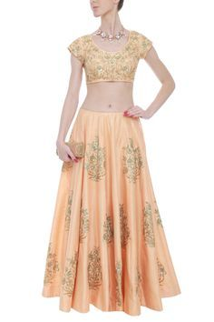 Peach raw silk lehenga with golden embroidery by AnK. Shop now: http://www.onceuponatrunk.com/designers/ank #ethnic #peach #gold #fashion #elegant #style #indianwear #lehenga #shopnow #onceuponatrunk #happyshopping