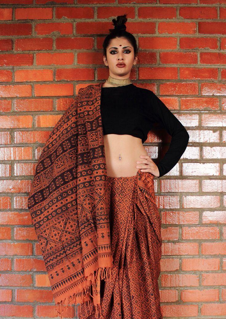 Blend of ahimsa silk with Khadi / veg printing