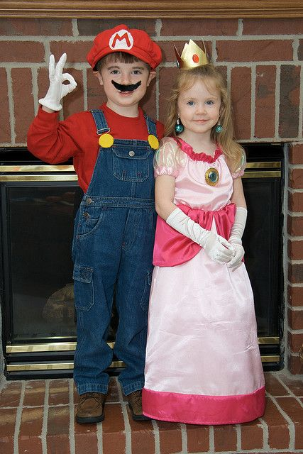 Mario and Princess Peach--Andy's dream  costume for E & R.