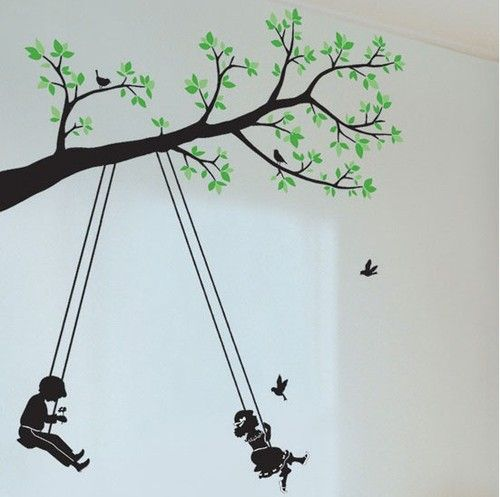 A Kids Swing Tree Butterfly Art Removable Decals Wall Sticker Nursery Vinyl | eBay