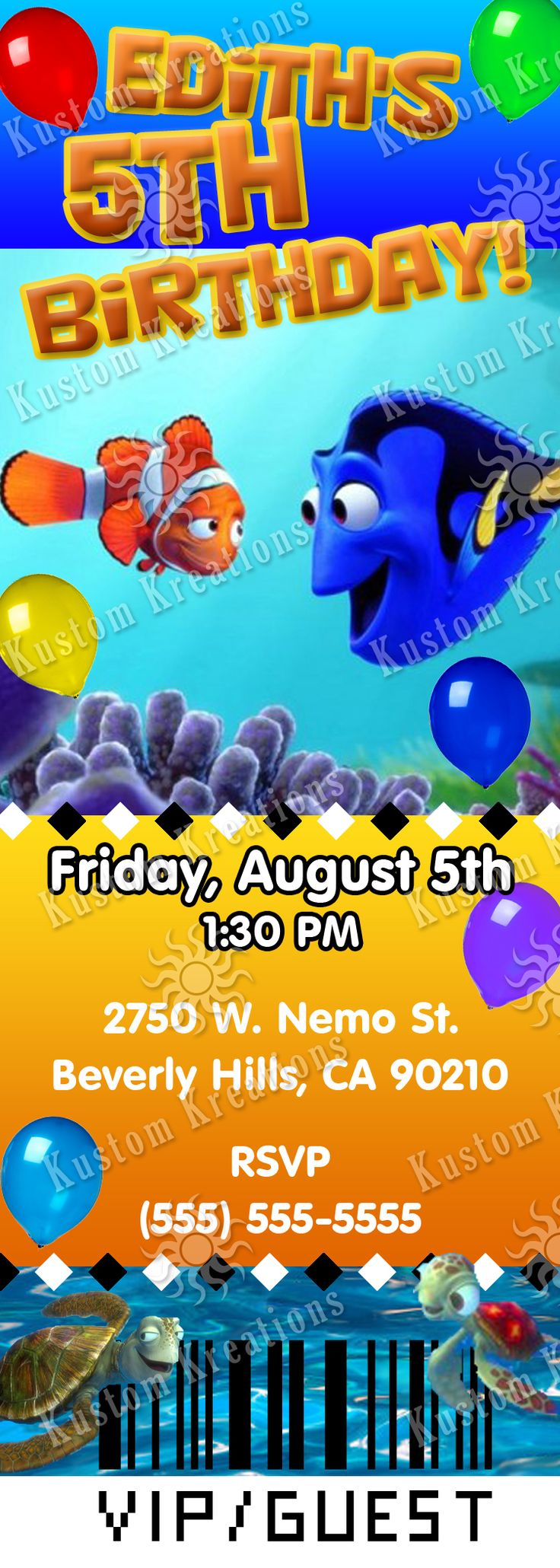 7 best Finding Dory Birthday Invitations images on Pinterest ...