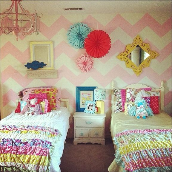 Chevron, girl's rooms, shared rooms