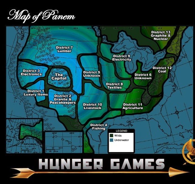 Map of Panem - I'd live in the Capitol...