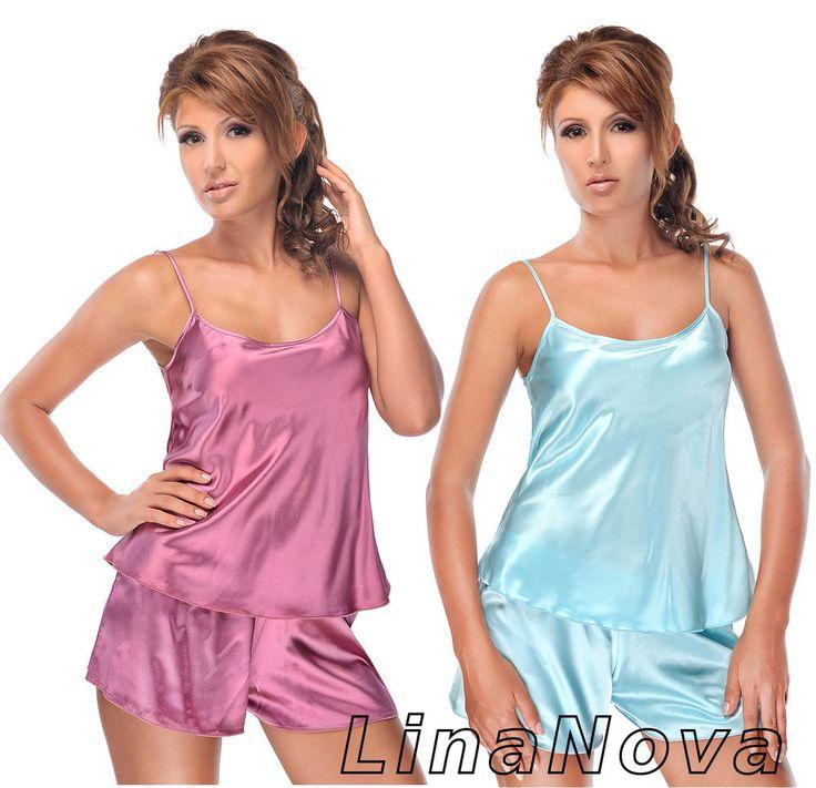Mujeres Conjunto de Pijama Corto de Satén Tank Camisón SML XL Ropa de Dormir