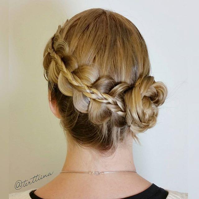 Diagonal stacked braid into a flower bun!