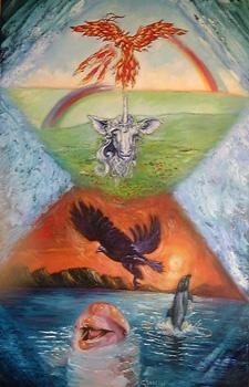 """""""Los 4 Elementos"""" Cuadro pintado al Óleo por Chari González"""