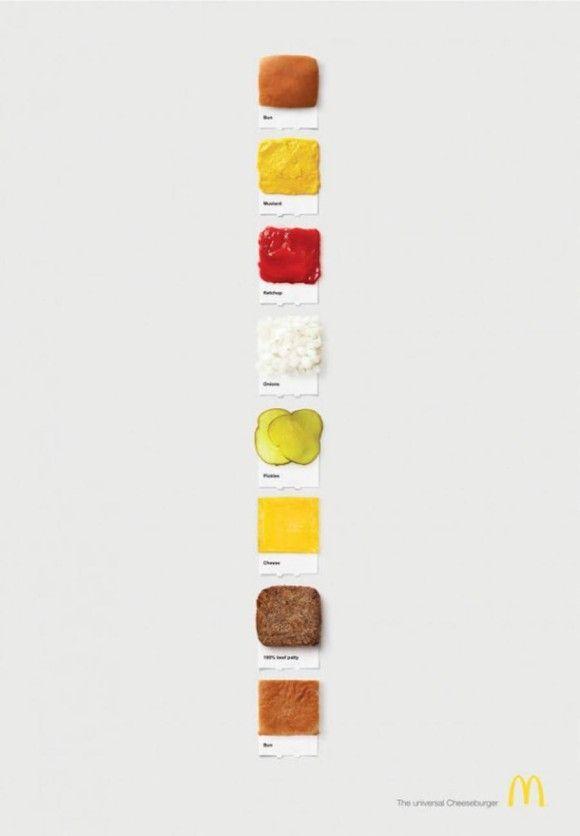 パントン・カラー(色見本) 風にマクドナルドのハンバーガー3種を表現してみた  1_チーズバーガー