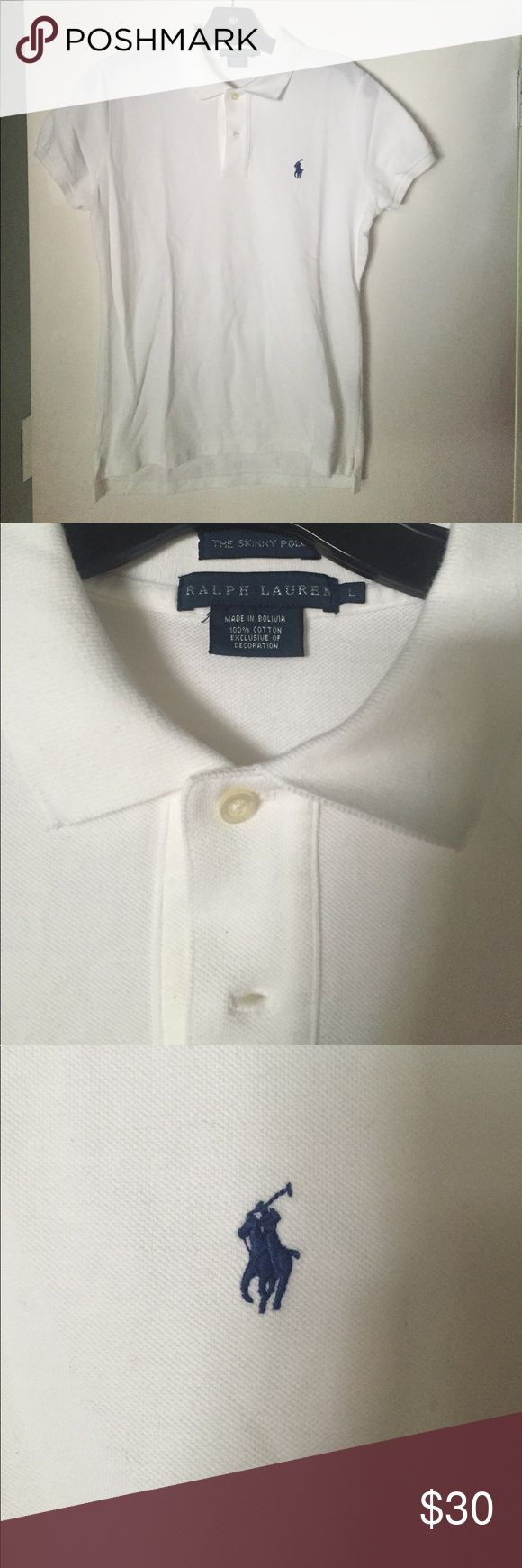 Ralph Lauren Skinny White Polo Collared Shirt Ralph Lauren The Skinny Polo White Collared Shirt.  In excellent condition with no stains, holes, etc.  Worn twice ❤️ Ralph Lauren Tops Button Down Shirts
