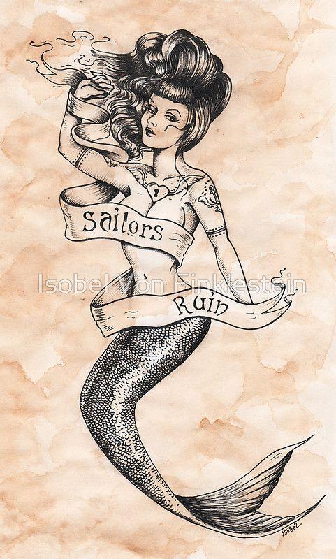 art de tatouage sirène marin Vintage j'aime la façon dont ses cheveux s'écoule et elle a un bon visage... 24393