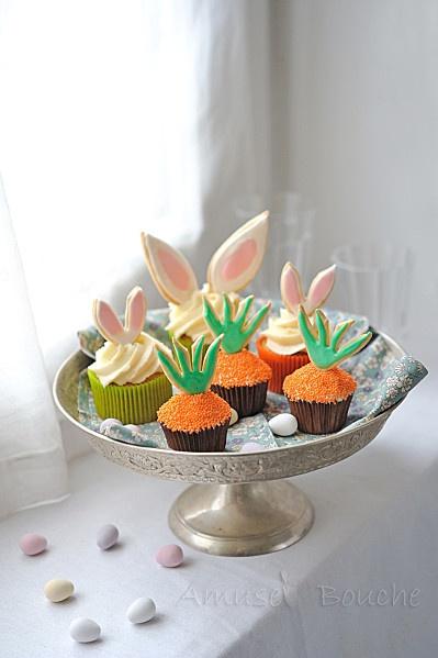 """CUPCAKES """"CONEJITOS y ZANAHORIAS"""" (carotte cupcakes) #recetas #recipes #recettes"""