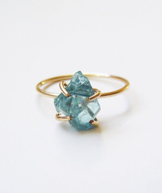 Featuring a stunning natural aqua aura crystal stone in a beautiful rough freeform shape. The gemstone was hand crafted into a 14k gold filled bezel