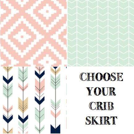 Arrow Crib Skirt//Pink and Navy Crib Skirt// Modern Crib Skirt// Aztec Crib Skirt// Chevron Crib Skirt//Mint Crib Skirt
