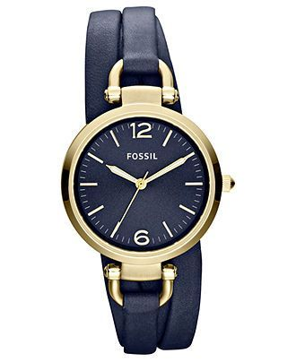 Fossil Watch, Women's Georgia Navy Triple Wrap Leather Strap 32mm ES3158 - Fossil - Jewelry & Watches - Macy's - womens watches sale, designer watches for womens sale, womens unique watches