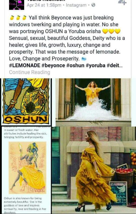 Follow♔ @badgalronnie ♔@Jasmeneb47: shun the water deity, I feel so late I remember learning about her in high school  (on my own).but that pretty awesome that Beyonce basic her album on her experience in life but aligned it with African m mythology deity.This why I admire her art.