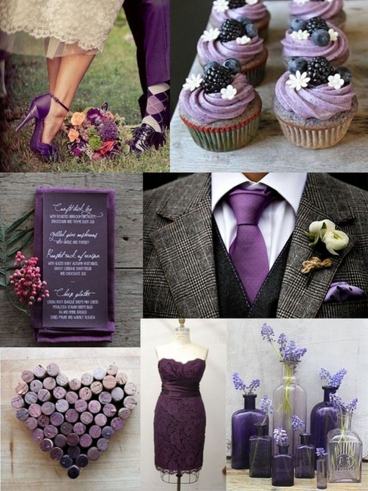 Plum purple and grey elegant wedding color ideas 18