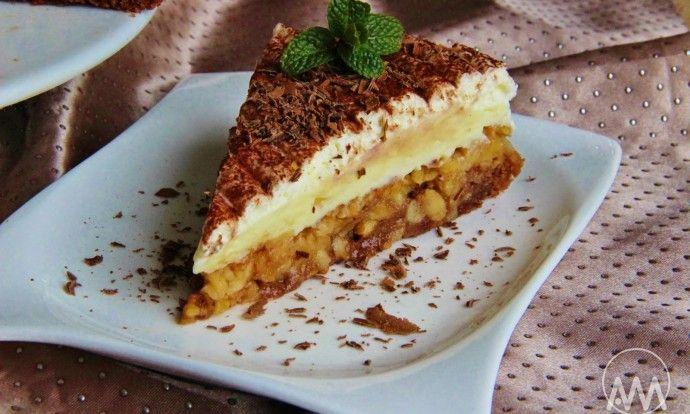 Obrácený jablkový koláč s pudinkovým krémem
