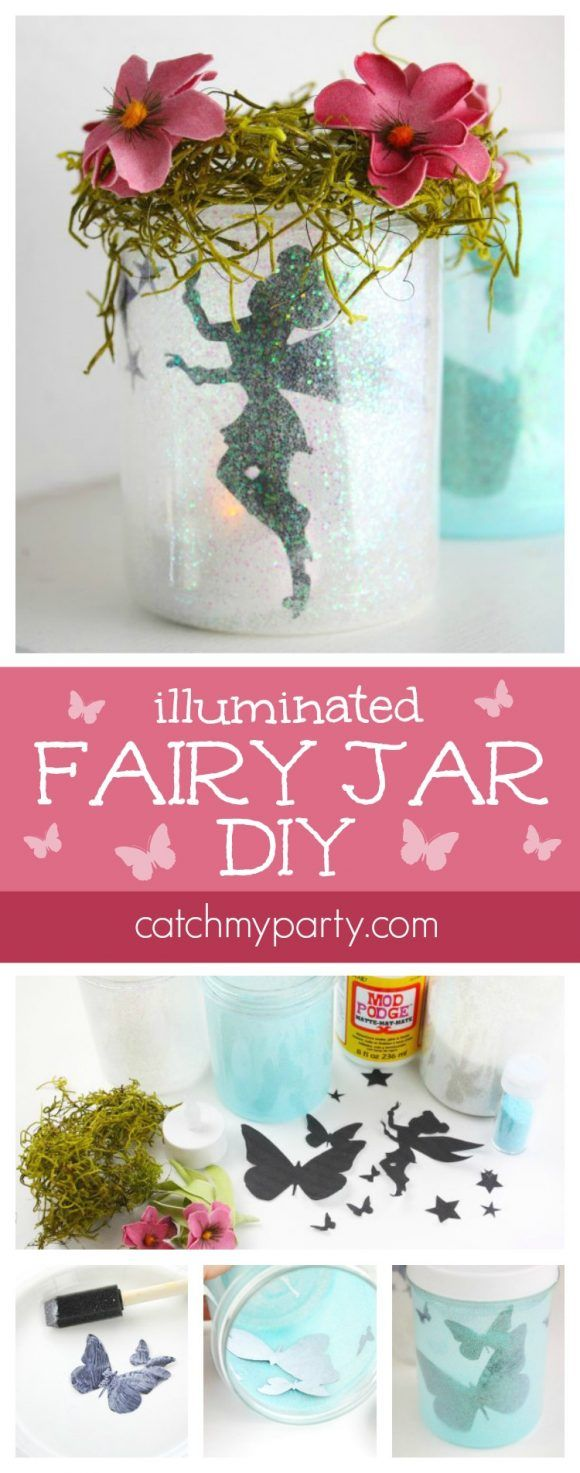 Illuminated Fairy Jar DIY perfect for a fairy party activity or fairy party favor! | CatchMyParty.com