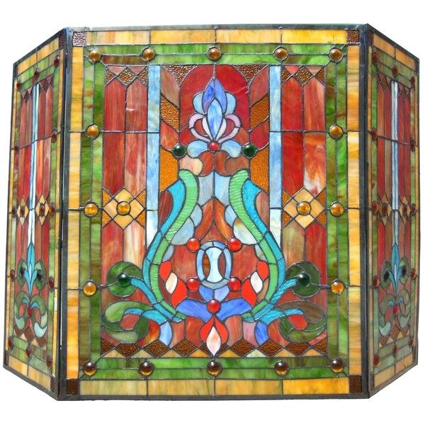 Chloe Victorian Stained Glass Fireplace Screen ($215) ❤ liked on Polyvore featuring home, home decor, fireplace accessories, red, victorian stained glass, red stained glass, red home decor, victorian fireplace screen and victorian home decor