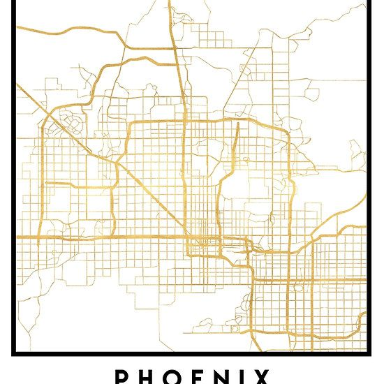 PHOENIX ARIZONA CITY STREET MAP ART -  An elegant city street map of Phoenix, Arizona in gold, with the exact coordinates of the city, make up this amazing art piece. A great gift for anybody that has love for this city. You can never go wrong with gold. I love my city.