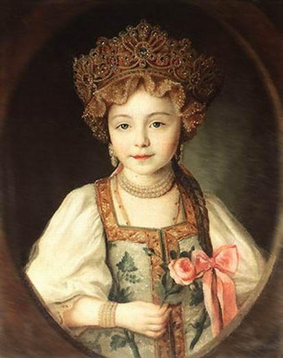 Портрет Великой княжны Александры Павловны в русском национальном костюме. Неизвестный художник