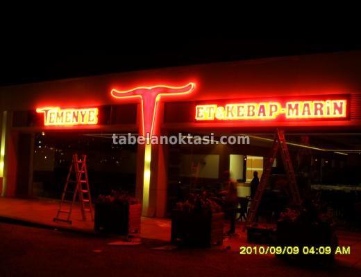 Temenye Et ve Kebap Marin Restoranı Neon Tabelası. Neon Tabela