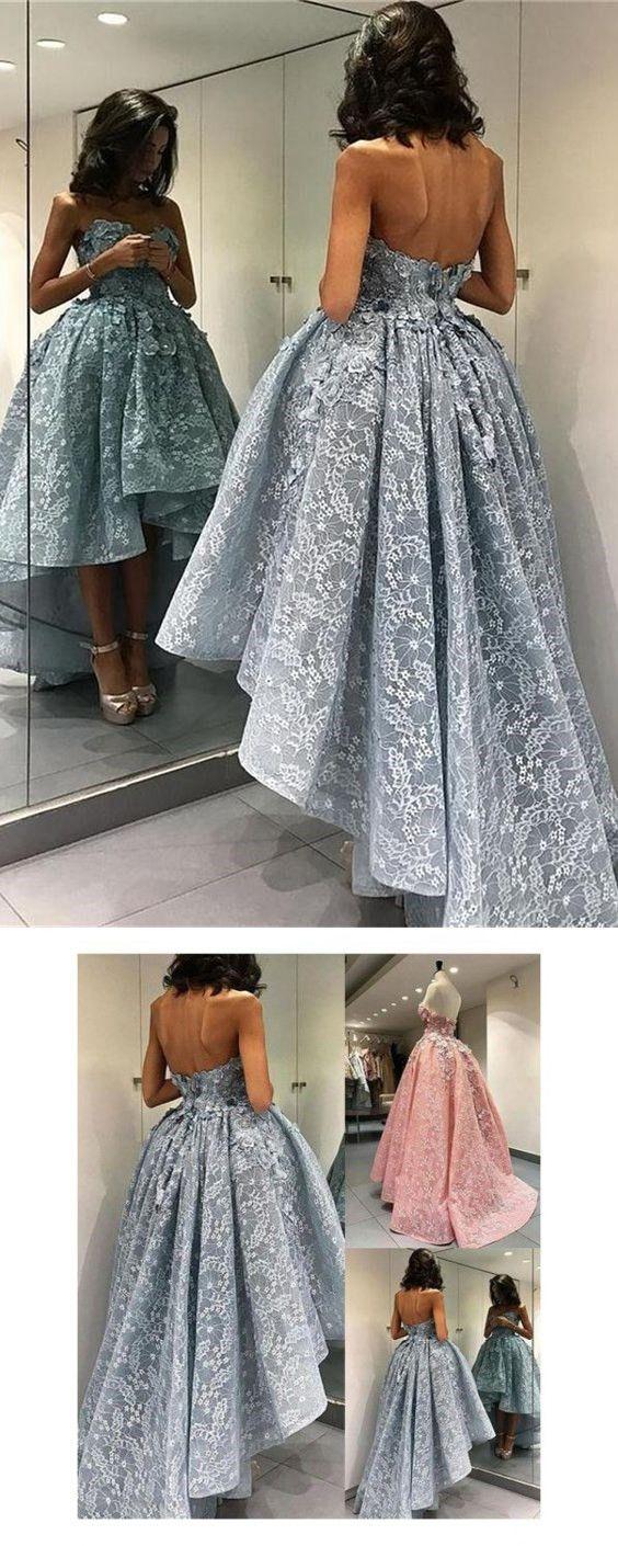 Short front long back lace prom dressesmodest evening dresses