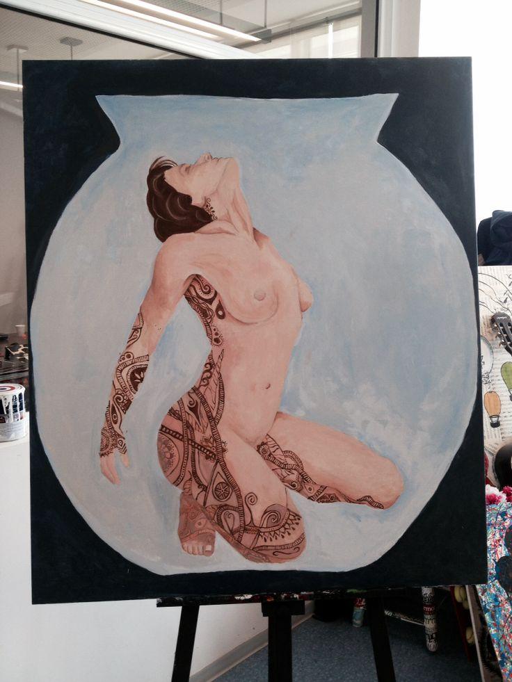 Figura humana, pintura acrilico