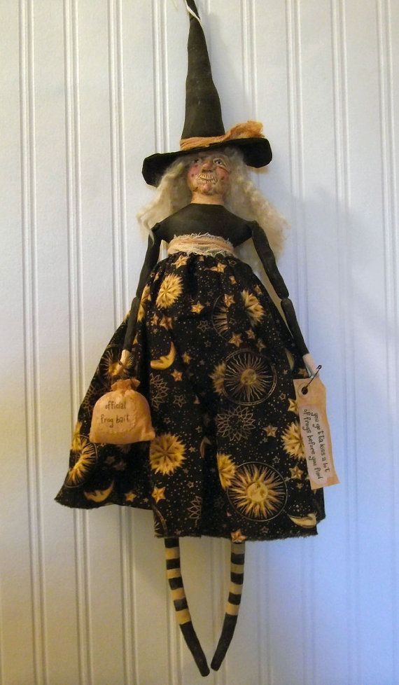Primitive Folk Art Halloween Frog Witch Doll by PlumThicketPrims