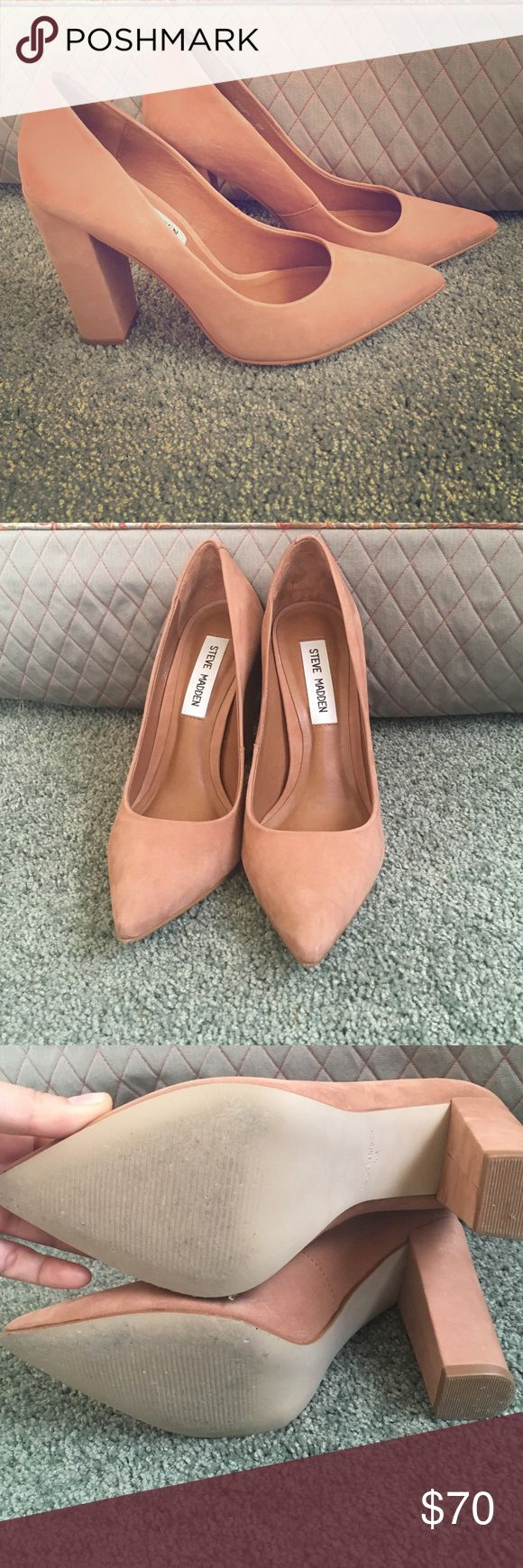Steve Madden Heels Tan suede, chunky heel, with pointed toe. These heels are SUPER sexy and sophisticated, they are just too small for my long toes. But I love them so much that I'm going to order a larger size in the future!! Perfect condition, worn twice, no scuffs or marks. Steve Madden Shoes Heels