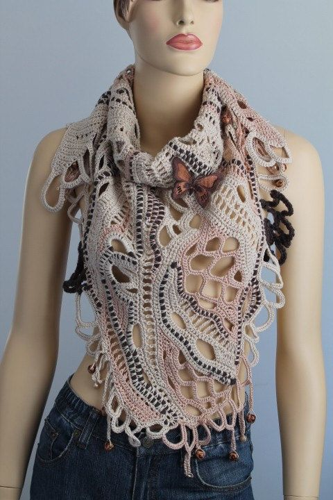 Riservato Mieke 10. Sahara / pizzo Freeform Crochet cotone sciarpa scialle / Wearable Art / OOAK