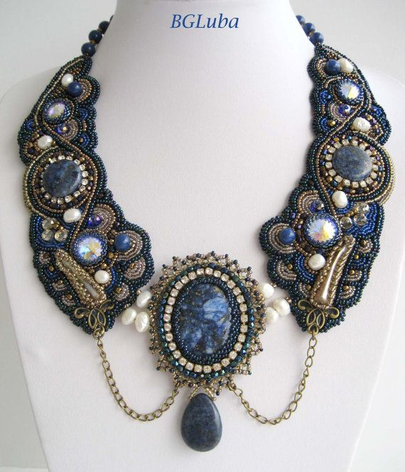 Last Tale of Scheherazade . Bead  Embroidered Necklace.Lazurit  Color of East