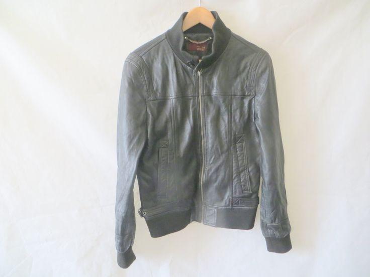 "Zara Bomber Jacket/Unisex/100% leather/zip fastening/Elastic Waist band/shoulder to Shoulder 16""/Armpit to Armpit 18""/sleeve 26""/length 25"" by Madeinbricklane on Etsy"