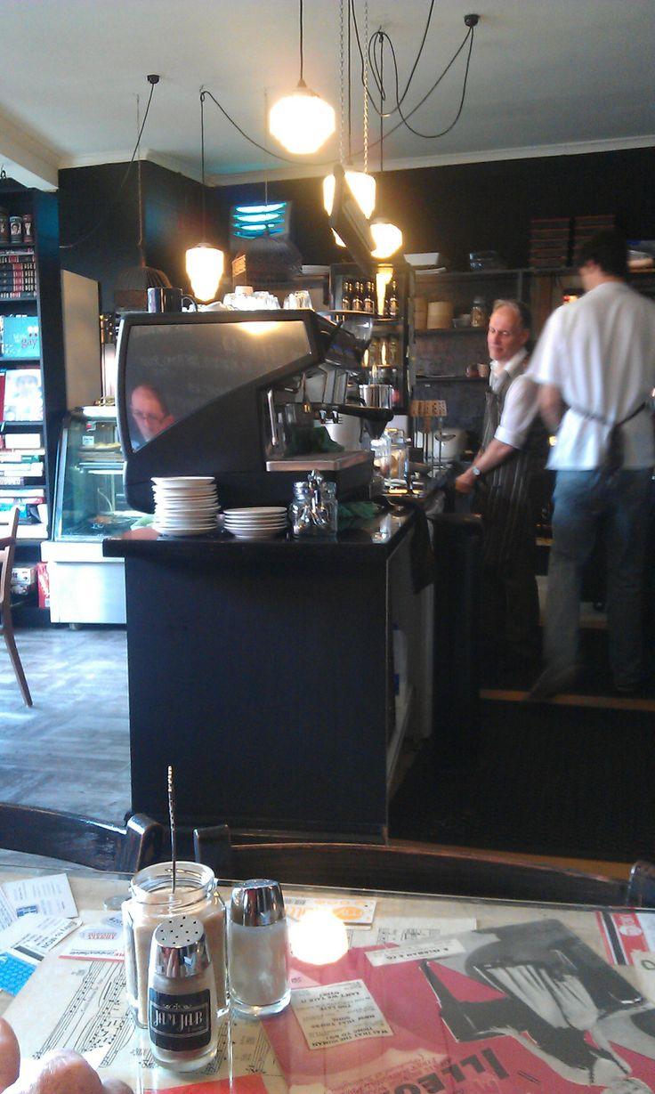 Jam Jar Cafe, Hobart, Tasmania, love the 1950's light shades.